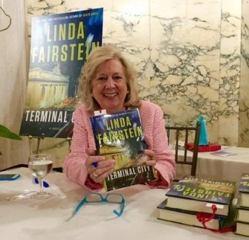 "Fairstein signing copies of ""Terminal City"" at this year's Gods Love We Deliver annual fundraiser."