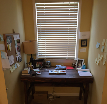 The writing desk that Joshua Hood built for himself and where he is now writing his military thrillers.